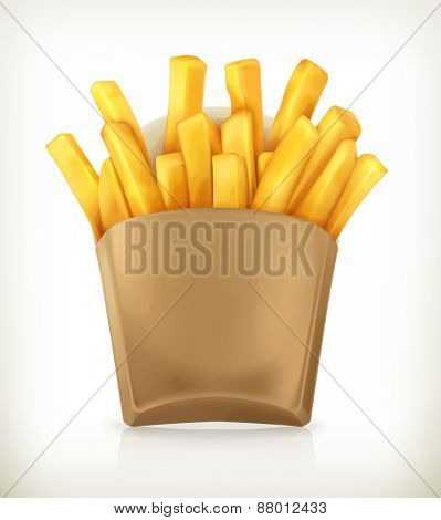 French fries, vector icon