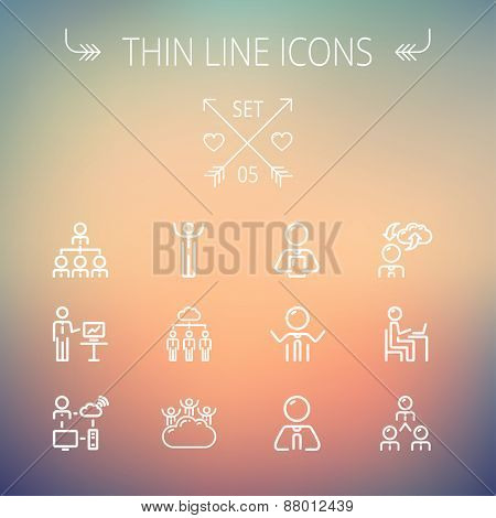 Business thin line icon set for web and mobile. Set includes- laptop, tablet, computer, globe, Businessmen, men, cloud. Modern minimalistic flat design. Vector white icon on gradient mesh background.