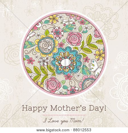 Mother's Day Card With Big Round Of Spring Flowers,  Vector Illustration