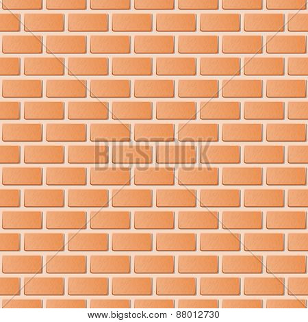 Red Brick Wall Vector Illustration Background. Texture Pattern