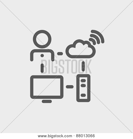Male office worker with computer set and wifi icon thin line for web and mobile, modern minimalistic flat design. Vector dark grey icon on light grey background.