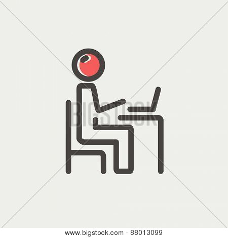 Young man and laptop icon thin line for web and mobile, modern minimalistic flat design. Vector icon with dark grey outline and offset colour on light grey background.