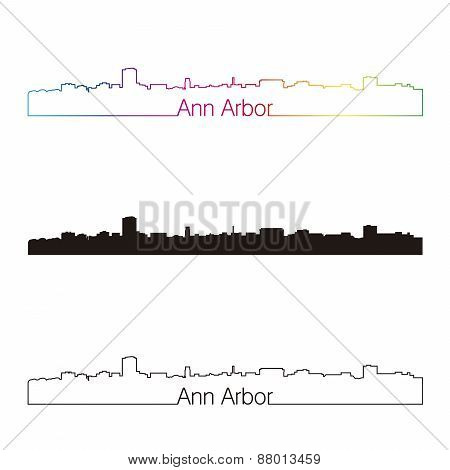 Ann Arbor Skyline Linear Style With Rainbow [convertido]