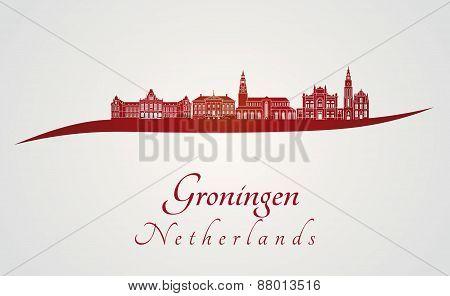 Groningen Skyline In Red