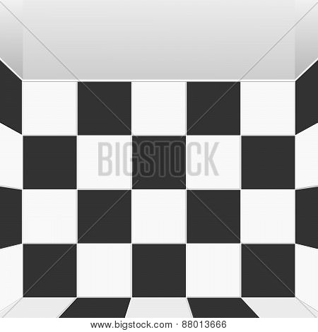 Vector Black And White Check Room