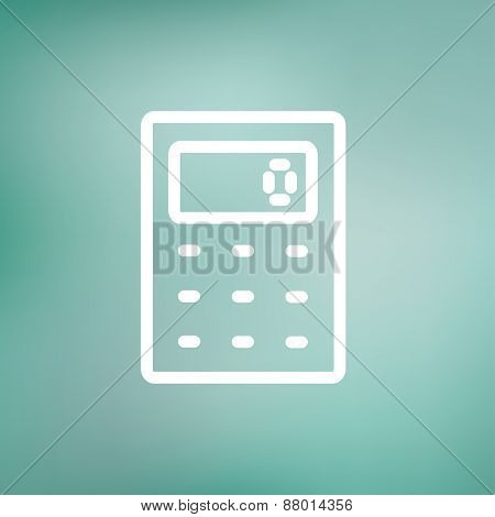 Calculator icon thin line for web and mobile, modern minimalistic flat design. Vector white icon on gradient mesh background.
