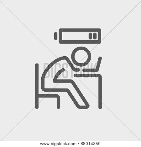 Businessman in low power icon thin line for web and mobile, modern minimalistic flat design. Vector dark grey icon on light grey background.