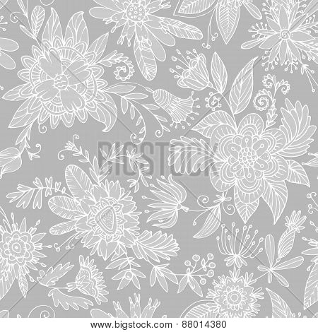 Gray seamless flower pattern