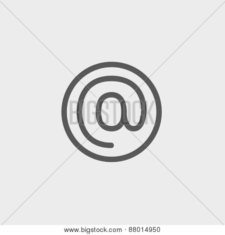 e-mail internet icon thin line for web and mobile, modern minimalistic flat design. Vector dark grey icon on light grey background.