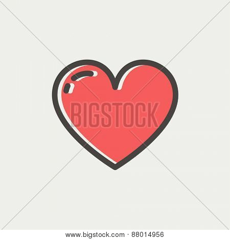 Heart icon icon thin line for web and mobile, modern minimalistic flat design. Vector icon with dark grey outline and offset colour on light grey background.