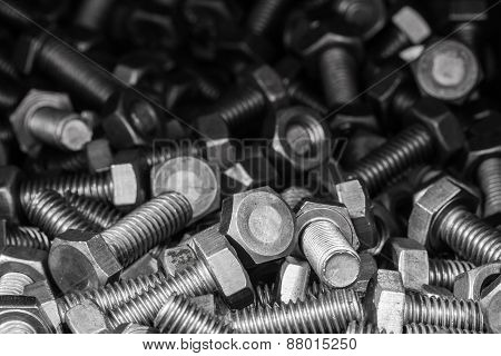 Metal Screw And Nuts.