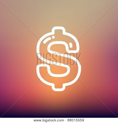 Dollar symbol icon thin line for web and mobile, modern minimalistic flat design. Vector white icon on gradient mesh background.