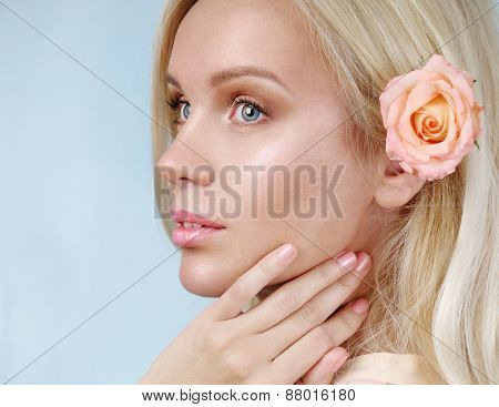 Sensual Tender Delicate Young Woman Portrait On Blue Background