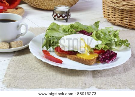 Breakfast - Poached Egg, Toast And Salad