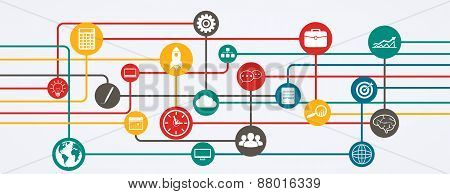Network Connections, Information Flow With Icons In Horizontal Position.