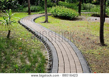 Stone Pathway In The Green Park