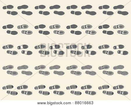 Set Of  Footprints Shoes Icon, Horizontal Traces Man