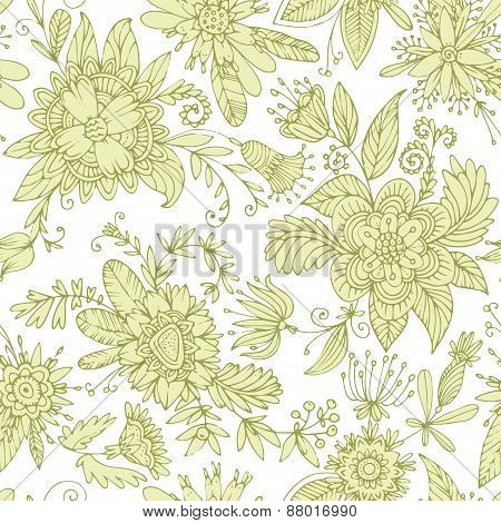 Green seamless flower pattern