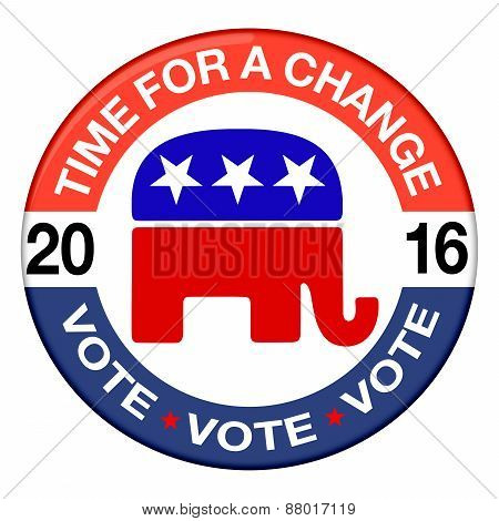 2016 Elections button shape with Republican party icon and text