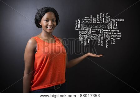 South African Or African American Woman Teacher Or Student Against Blackboard Education Diagram