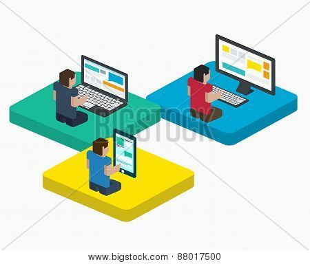 People Work On Digital Devices In Web, Design In Flat Isometric Style