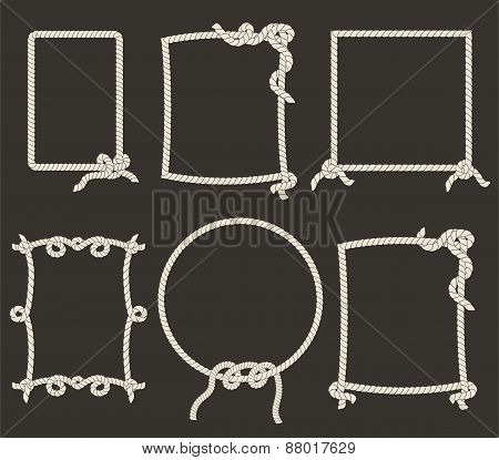 Decorative Rope Frames On Black Background