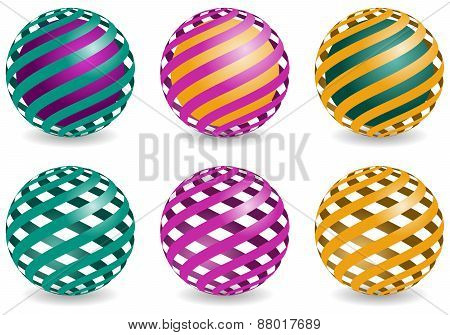 sphere design elements, vector abstract globes