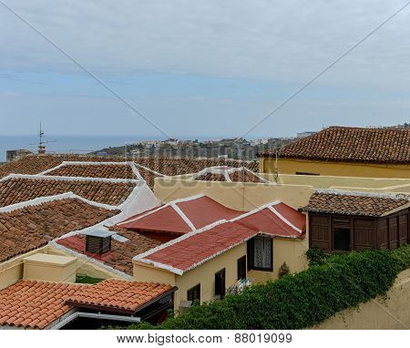 Tile Roofs In Icod De Los Vinos, Tenerife, Canary, Spain.