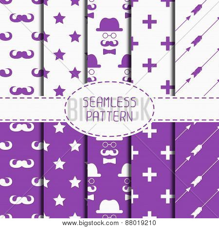 Set of hipster fashion geometric seamless pattern with mustache. Collection of paper for scrapbook.