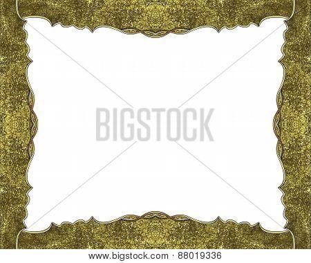 Element For Design. Template For Design. Grunge Golden Frame On A White Background