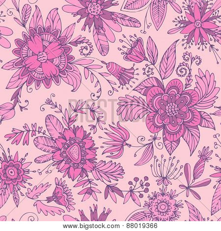 Fuchsia seamless flower pattern