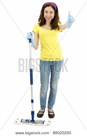 Spring Cleaning Woman Thumbs Up