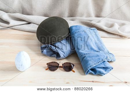 Set Of Various Clothes And Accessories For Men