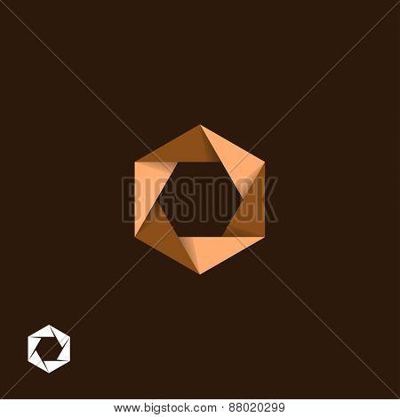 Origami, hexagonal, aperture symbol
