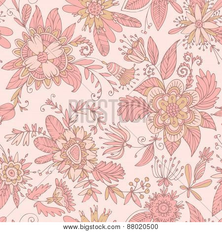 Pink seamless flower pattern