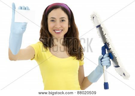 Cleaning Woman Showing Blank Sign Card
