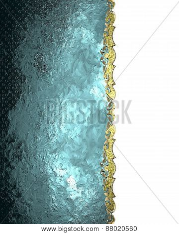 Element For Design. Template For Design. Abstract Blue Texture With Gold Decoration
