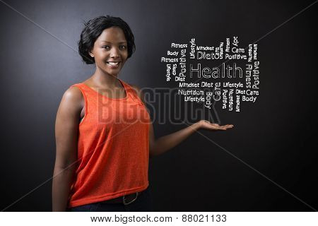 South African Or African American Woman Teacher Or Student Against Blackboard Health Diagram