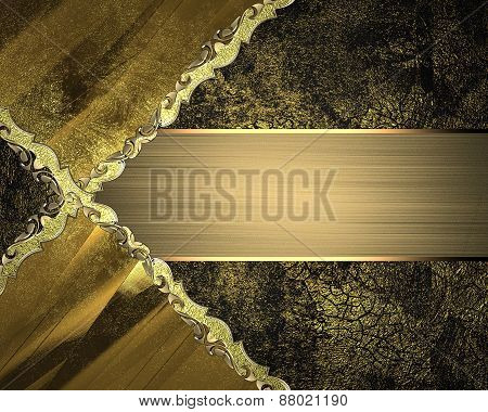 Element For Design. Template For Design. Black And Gold Background With Abstract Patterns And Gold N