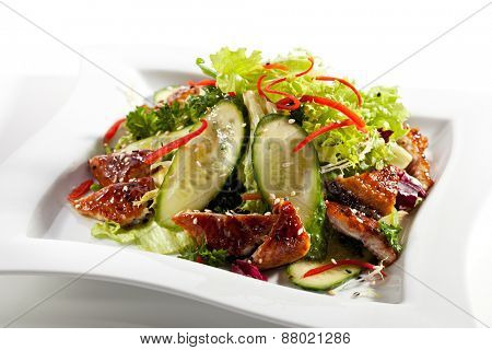 Salad with Smoked Eel and Vegetables