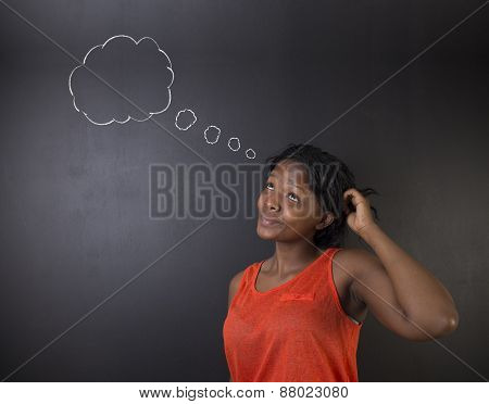 South African Or African American Woman Teacher Or Student Thinking Cloud