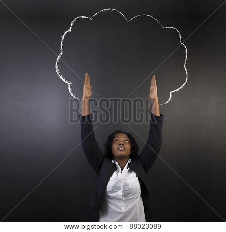 South African Or African American Woman Teacher Or Student Reaching For Sky Chalk Tree Blackboard Co