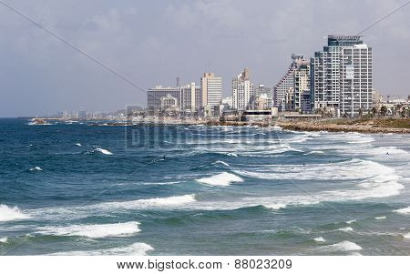 Skyline, And Beaches Of Southern Tel Aviv. Israel.