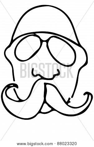 Sketch Of A Bald Man With A Mustache Wearing Glasses