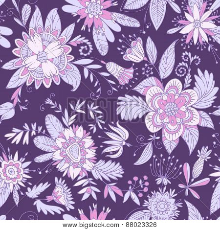 Purple seamless flower pattern