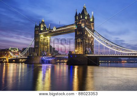 Famous Tower Bridge In The Evening