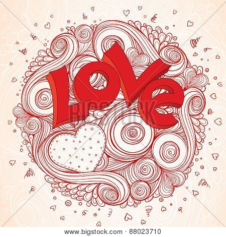Light paper heart  card with sign on ornate pattern.