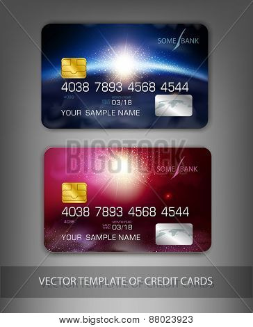 vector template credit cards with modern design (space)