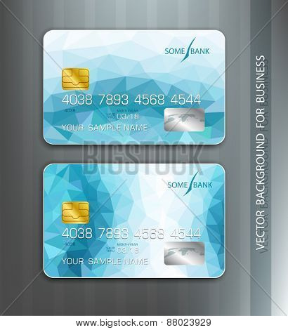 vector templates credit cards with blue abstract pattern