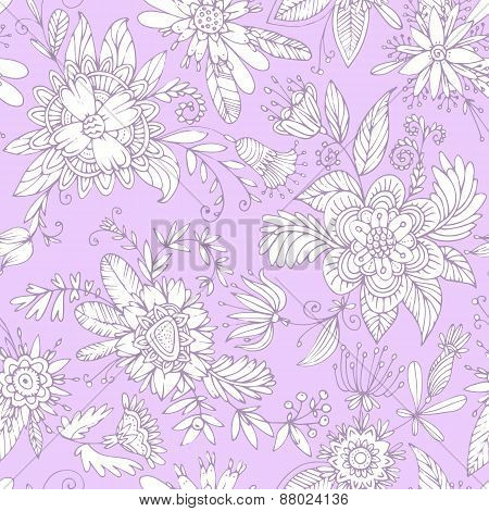 Violet seamless flower pattern